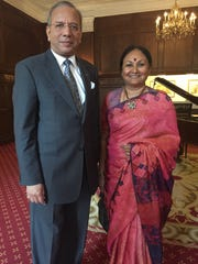 International Rotary Club President Ravi Ravindran, left, and wife Vanathy Ravindran, right visited the Yorktowne Hotel Wednesday to attend the York Rotary Club's weekly meeting.