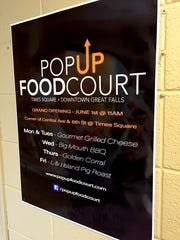 The sign, and initial food providers, for the Pop-Up Food Court.