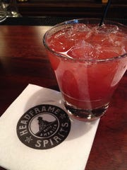 A strawberry-balsamic cocktail at Headframe Spirits tasting room in Butte.