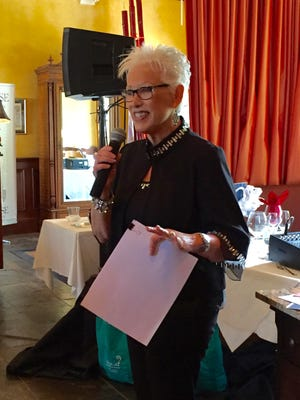 Through her organization, Nine Girls Ask, ovarian cancer survivor Joan Wyllie speaks frequently about her experience with ovarian cancer.