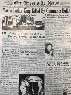 A copy of The Greenville News on April 5, 1968.