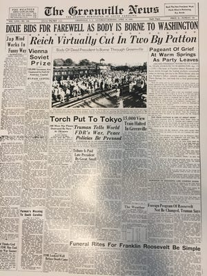 The front page of The Greenville News on April 14, 1945.