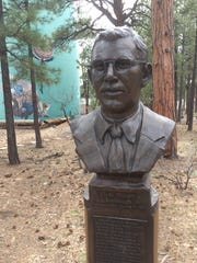 A bust of Clyde Tombaugh on the grounds of the Lowell