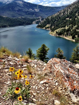 Gibson Reservoir from Gibson Outlook up the Sun River Canyon, west of Augusta. A man is missing in the Bob Marshall Wilderness. He last was seen in a camp 17 miles west of the head of Gibson Reservoir.