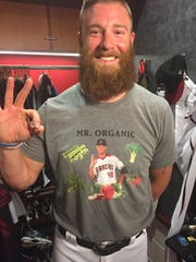 Archie Bradley wearing his Randall Delgado shirt.