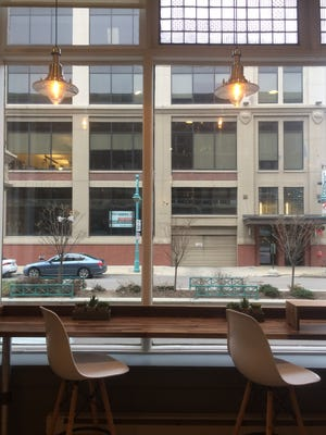 Counter seating at the new FreshFin Poke, 316 N. Milwaukee St., has a view of the Third Ward. Opening day is Nov. 30.