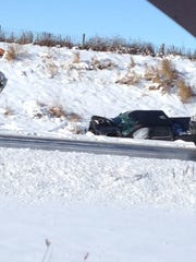 Wreckage at the scene of a crash on Interstate 43 near the Manitowoc-Sheboygan county line Jan. 16.
