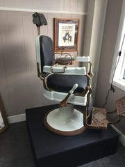 This barber chair on display at Hair Harbor was used by salon owner Ashley Ausberger's great-grandfather Nicholas Masson in his shop in Detroit in the 1930s and '40s.