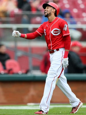 Cincinnati Reds center fielder Billy Hamilton (6) reacts after striking out in the first inning during the National League baseball game between the St. Louis Cardinals and the Cincinnati Reds, Saturday, April 14, 2018, at Great American Ball Park in Cincinnati.