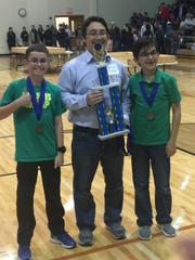 Named The Green Beans, a Glenn Middle School team of Miguel Flores-Acton, Jackson Waddington and Tommy Burney won first place in the 2017-2018 TCEA State Robotics Arena Competition Intermediate Division.