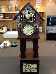 An all-chocolate cuckoo clock, made by Emily McCracken of Williston, is shown here at South End Kitchen. McCracken is a sculptor and educator at Lake Champlain Chocolates, Burlington.