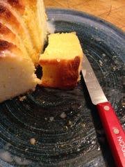 Lemon-yogurt pound cake with sugary lemon glaze, almost