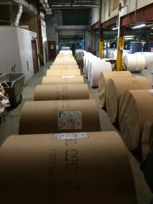 Rolls of paper that will be used to make The News-Press' 600 page Thanksgiving edition