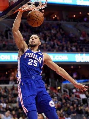 Philadelphia 76ers guard Ben Simmons dunks against the Wizards on Wednesday.