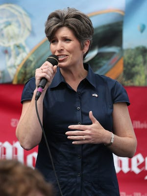 Republican Joni Ernst, running for U.S. Senate, speaks at the Des Moines Register's Political Soapbox at the 2014 Iowa State Friday Aug. 8, 2014 in Des Moines, Iowa. The fair runs thru Aug 17.