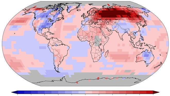While the USA had a slightly cooler-than-average November, much of the rest of the world, including Russia, was unusually warm. Areas in blue were cooler-than-average while areas in pink and red were warmer-than-average.