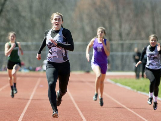 South Western's Lynne Mooradian earned three first-place medals at Saturday's Arctic Blast Invitational at Northern York High School. She broke her own meet record in the 100-meter dash, won the 400 run and took first in the 300-meter intermediate hurdles, setting the Mustangs school record and shattering the previous meet record in the process.