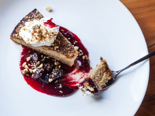 Brown butter walnut cake with kirsch cherries and labneh