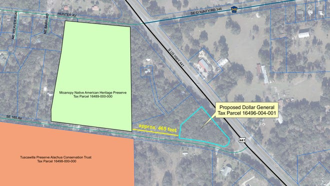 A Dollar General store is proposed to be built at the corner of U.S. 441 and Tuscawilla Road just outside of Micanopy, near a site used in the Battle of Micanopy during the Second Seminole War.