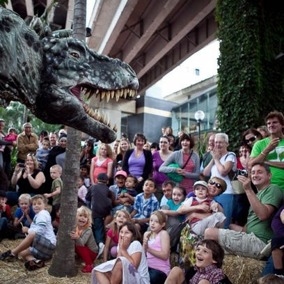 The dinosaur petting zoo at Spark! Mesa's Festival