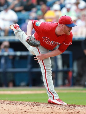 Phillies starting pitcher Brett Oberholtzer throws a pitch during the fifth inning March 13 against the New York Yankees at George M. Steinbrenner Field. Oberholtzer, who was battling for a rotation spot, appears to be headed for the Phillies' bullpen.