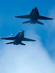 The Blue Angels soar overhead during the annual Breakfast with the Blues event Pensacola Beach Wednesday morning July 5, 2017.
