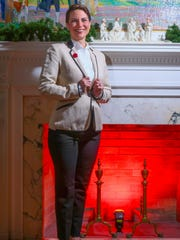 Kaci Clark-Potter wears a MNG by Mango Blazer, Thomas Mason J. Crew tuxedo shirt, J. Crew Cameron cropped pants and blue, green and black Kelly & Kate slippers.
