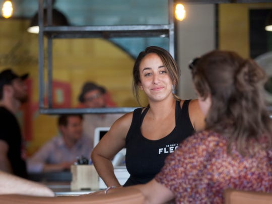 Detroit Fleat, Food Truck Park and Boozery co-owner Katie Picard chats with Drifter Coffee co-owner Alleah Webb as they prepare for a July 5 opening, with Delectabowl, Pita Post, Mac Shack and Drifter Coffee as permanent fixtures Thursday, June 8, 2017 in Ferndale.