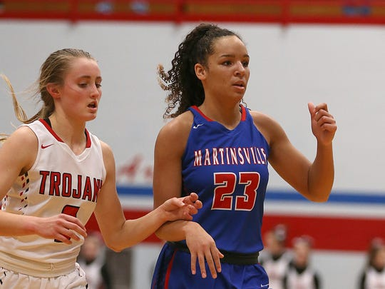 Martinsville's Kayana Traylor (right)
