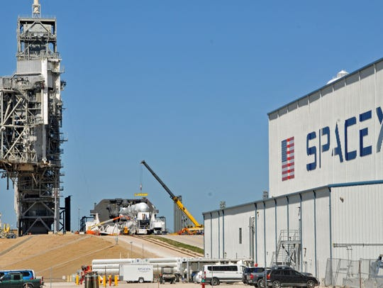 Space X's Falcon 9 rocket is prepared for a launch