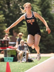 TechÕs Jodi Lipp competes in the triple jump Saturday, June 10, during state track and field competition at Hamline University in St. Paul. Lipp finished second place in the event.