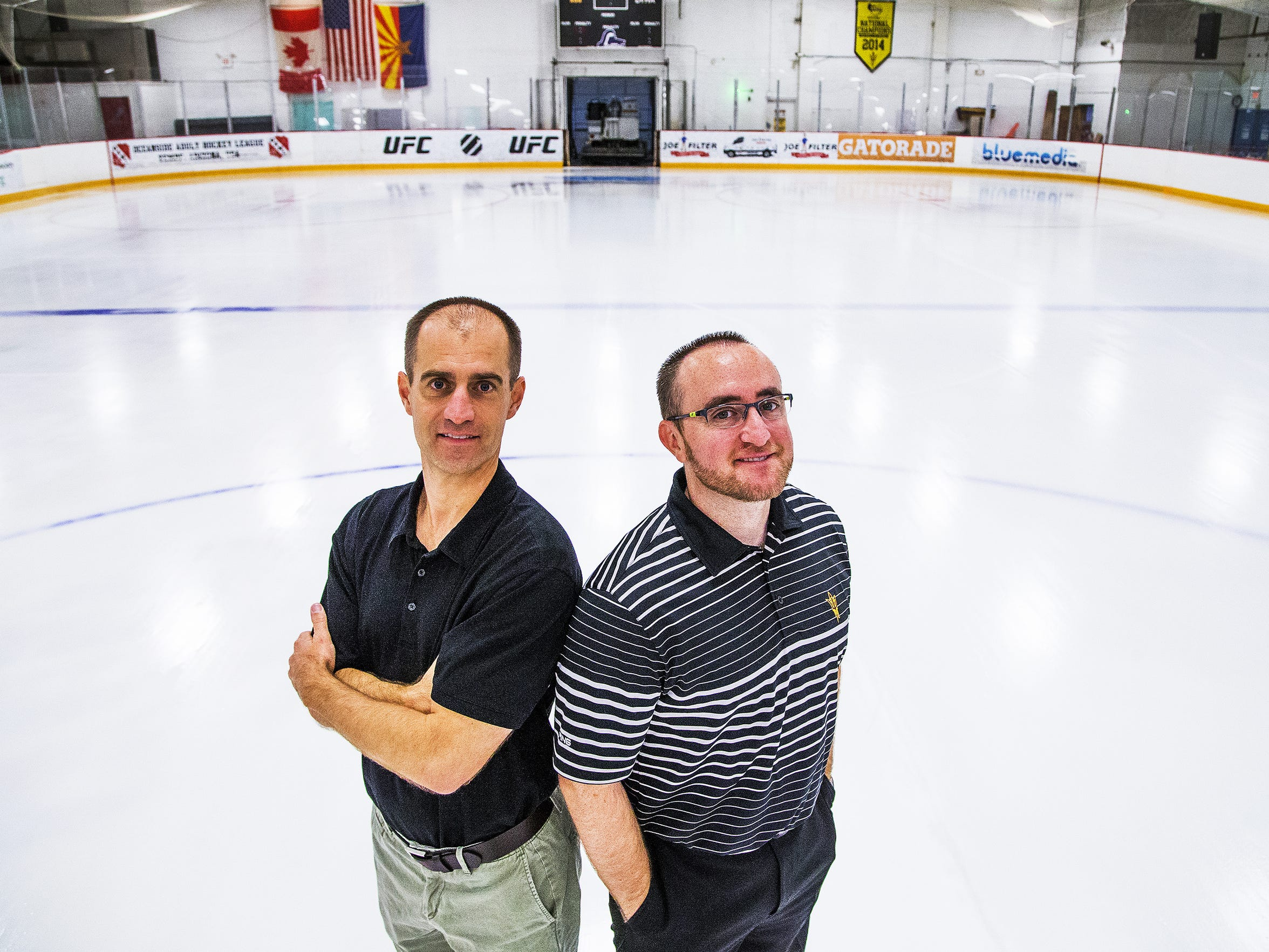 """""""I don't expect to be in the Frozen Four in the next two years, but we expect to win games,"""" said Greg Powers (right), ASU hockey coach."""