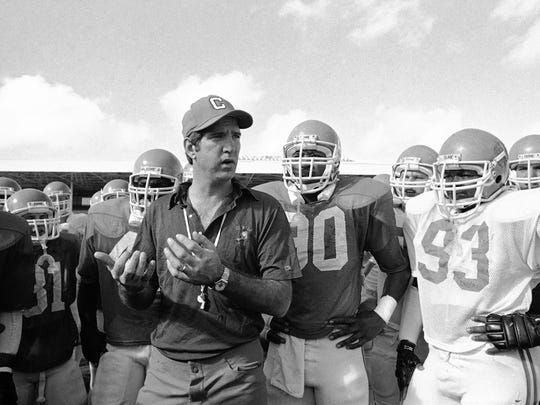 Danny Ford coaches the Clemson team in 1981 preparation