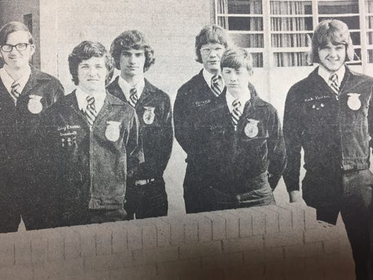 FFA officers leading the UCHS chapter in February 1975 were, left to right, Billy Joe Samples, Gary Ervin, David O'Nan, Rick Hancock, James Brisby, and Rick Hunter.