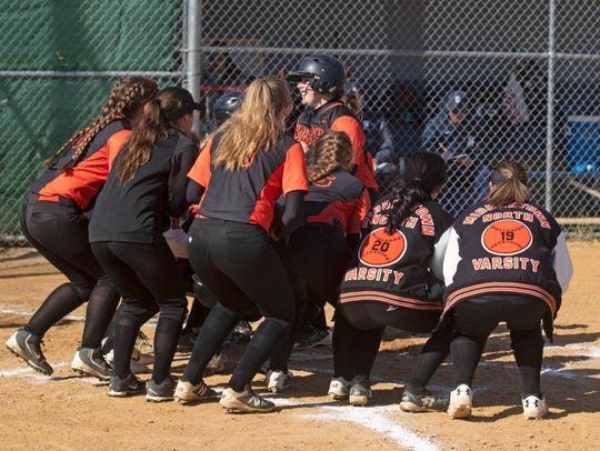 Middletown North vs Middletown South softball on April