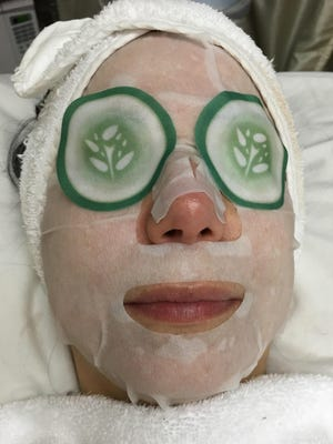 An anti-aging collagen facial with cucumber serum pads on the eyes is part of the treatment.