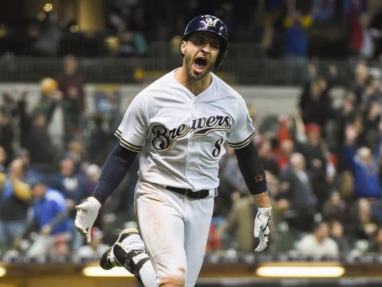 Ryan Braun lets out a howl after smacking the winning