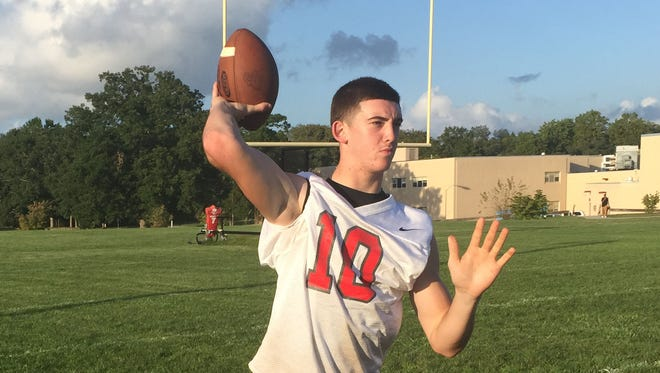 Ryan Shelton fires a pass in practice on Wednesday. The sophomore will start his first game at quarterback for Vineland High School on Friday at Cumberland.