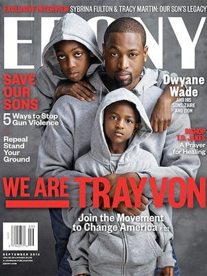 HAND OUT PHOTO --- Dwyane Wade and sons Zaire and Zion on the September cover of Ebony magazine.