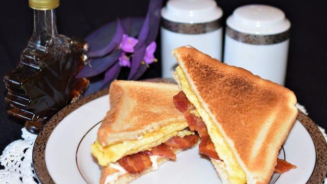 Maple bacon, mayonnaise and egg sandwich.
