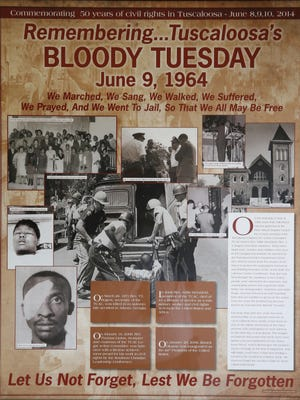Worshippers at the the First African Baptist Church in Tuscaloosa commemorate Bloody Tuesday during a service Sunday, June 3, 2018. On June 9, 1964, police officers used tear gas, and assisted by an angry mob, brutalized black citizens attempting to march from First African Baptist to the Tuscaloosa County Courthouse to protest segregated water fountains and restrooms in the new county courthouse. The event is now known as Bloody Tuesday.