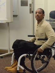 Paul Tyler, confined to a wheelchair since being shot in January 2017, turns before leaving the courtroom after he was found not guilty on Wednesday.
