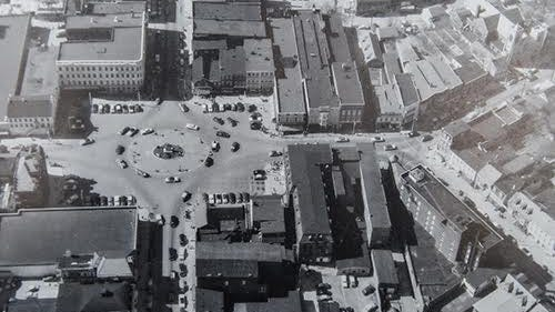 This aerial view of Hanover's Center Square from the 1950s is courtesy of the Hanover Area Historical Society.