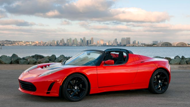 A Tesla Roadster similar to the one Elon Musk said would launch atop SpaceX's first Falcon Heavy rocket.