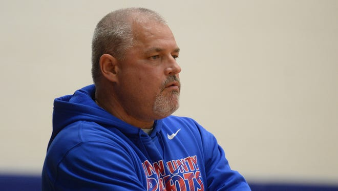 Union County volleyball coach Frank Spurlock during the volleyball regional Tuesday, Oct. 27, 2015 at Union County High School in Liberty.