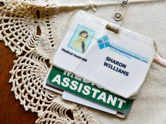 Sharon Williams' former work badge is shown at her grandmother's home in South Middleton Township, Cumberland County.