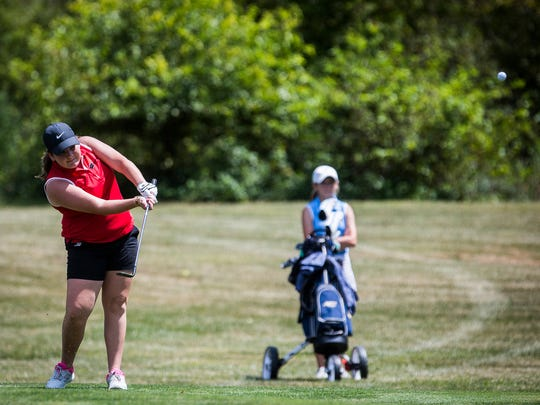 Wapahani's Abby Snider competes in the Delaware County