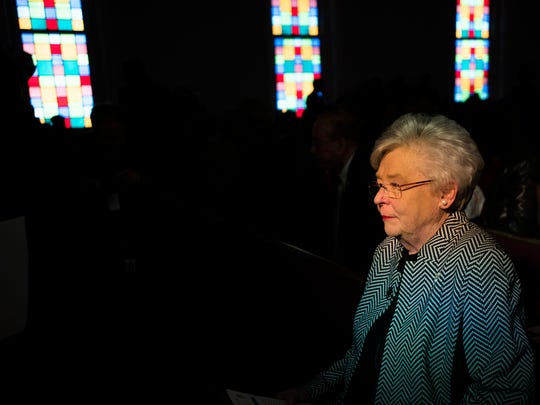 Governor Kay Ivey looks on during the Dexter Avenue