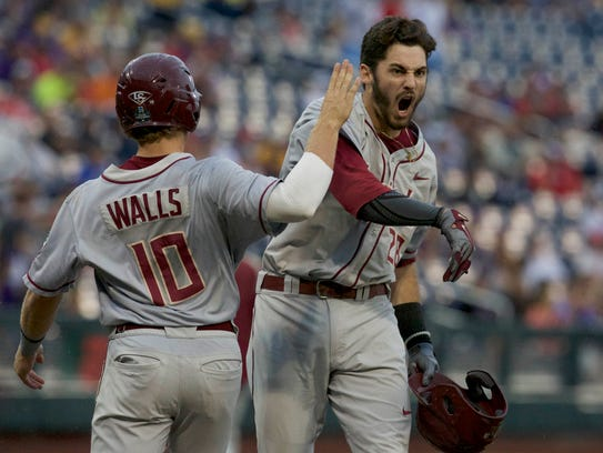 Florida State's Dylan Busby celebrates with Taylor