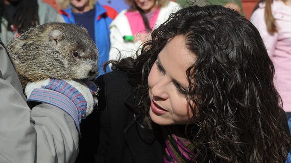 Nibbles and me at Groundhog Day at the WNC Nature Center in 2013. Groundhog Day will take place at the Nature Center on Feb. 2.